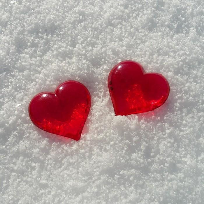Valentine's Hearts in Snow
