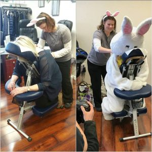 The Easter Bunny getting a massage