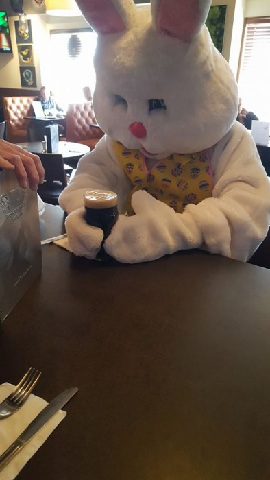 Easter Bunny Drinking a Beer