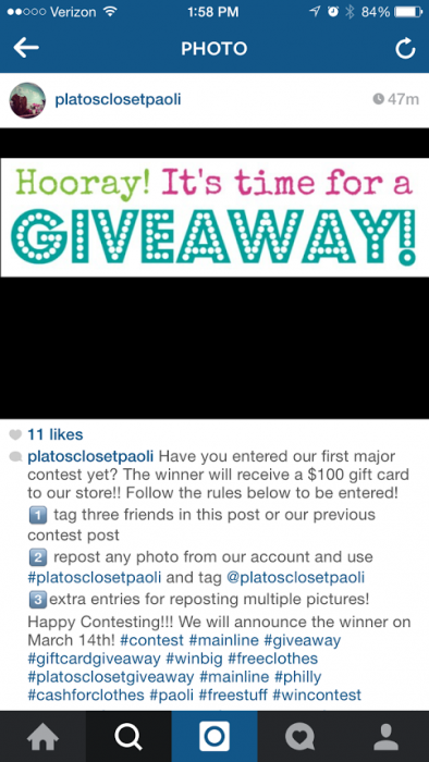 Platos Closet Paoli March Instagram Contest