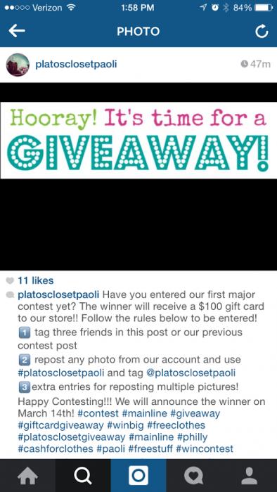 Platos Closet Paoli March Instagram Contest