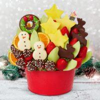red basket with pineapple reindeer